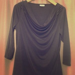 Deletta 3/4 Sleeve Drape Neck Top